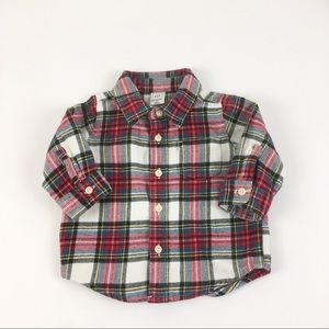 GAP Baby Red Plaid Flannel Button Up